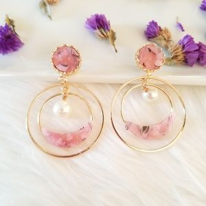 Pink hoop stud earrings